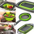 SWU Collapsible Colander - Over The Kitchen Sink Strainer - Silicone Kitchen Strainer Set Of 3-6 Quart,3 Quart & 2 Quart For Draining Pasta in Green
