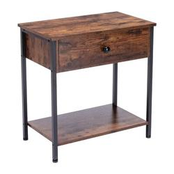 17 Stories Side Table,End Table,Nightstand,Side Table w/ Storage Drawer & Storage Board, Retro Industrial Design Living Room End Table in Brown