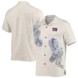 Men's New York Giants Tommy Bahama Cream La Playa Luau Button-Up Camp Shirt