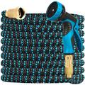 CozyBox Upgraded Expandable Expanding Garden Hose Water Hose w/ 9-function High-pressure Spray Nozzle, Heavy Duty Flexible Hose in Blue/Black