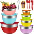 GuangMing Mixing Bowls Set, 18Pcs Kitchen Tools Stainless Steel Nesting Mixing Bowls w/ Lids Stainless Steel in Gray, Size 6.0 H x 12.0 W in Wayfair