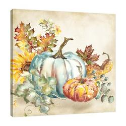 """""""Watercolor Harvest Pumpkin III"""" Gallery Wrapped Canvas By August Grove® Canvas & Fabric in Blue/Brown/Gray, Size 12.0 H x 12.0 W x 1.5 D in Wayfair"""