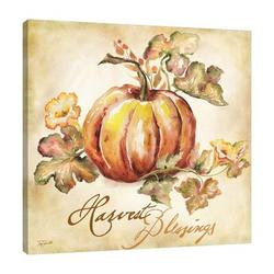 """""""Watercolor Pumpkins: Harvest Blessings"""" Gallery Wrapped Canvas By August Grove® Canvas & Fabric in Brown/Gray/Green 