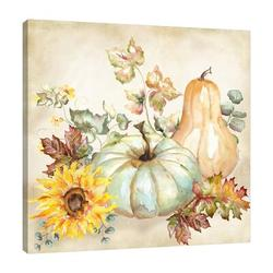 August Grove® Harvest Pumpkin & Sunflowers II - Wrapped Canvas Print Canvas & Fabric in Brown/Gray/Green, Size 24.0 H x 24.0 W x 1.5 D in | Wayfair