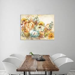 """""""Harvest Pumpkin & Sunflowers"""" Gallery Wrapped Canvas By August Grove® Canvas & Fabric in Brown/Gray/Green 