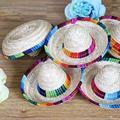 Mini chapeau en paille naturelle, 3 pièces, fournitures De bureau, décorations De fête