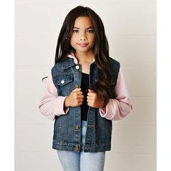 Adorable Sweetness Girls' Denim Jackets Jean/Pink - Pink & Blue Hooded Denim Jacket - Toddler & Girls