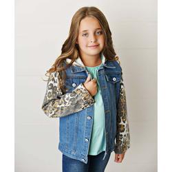 Adorable Sweetness Girls' Denim Jackets Jean/Tan - Blue & Tan Leoaprd-Accent Hooded Denim Jacket - Toddler & Girls