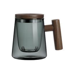 Lisjoy Wooden Handle Tea Cups Glass w/ Infuser & Lid, Brewing Tea Mugs 10.14 Oz Cyan A Glass in Brown, Size 4.33 H x 5.32 W in   Wayfair LIS0001