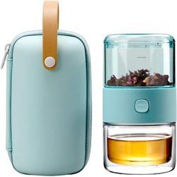 Guzhai Travel Tea Set,Tritan Portable Teapot Infuser Set For One w/ 200Ml Double Walled Teacup For Loose Tea in Green   Wayfair A0B1B085Q61HY9