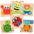 Polar Wooden Jigsaw Puzzle Set, 6 Pack Animal Shape Color Montessori Toy, Size 0.5 H x 5.7 W x 5.7 D in   Wayfair POLARe4f24c0