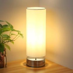 Latitude Run® Touch Control Table Lamp Bedside Minimalist Desk Lamp Modern Accent Lamp Dimmable Touch Light w/ Cylinder Lamp Shade Night Light Nightstand Lamp For Metal