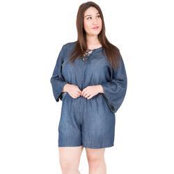 Plus Size Women's Bell Sleeve Lace-Up Tencel Denim Rompers