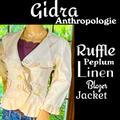Anthropologie Jackets & Coats | Anthrogidraruffle Peplum Linen Blazer Jacket | Color: Cream | Size: 4