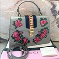 Gucci Bags   Gucci Medium Sylvie Embroidered Floral Handle Bag   Color: Blue/Pink   Size: Medium