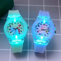Montre Flash pour enfants, bracelet en caoutchouc, lapin, dinosaure, horloge lumineuse, design de