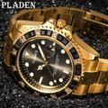 PLADEN – montre à Quartz pour hommes, verre saphir, étanche, lumineuse, ronde, noire, diamant,