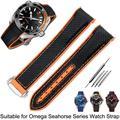 Bracelet de montre pour Omega 300, chaîne de montre, planète océan, boucle pliante, Silicone, Nylon,