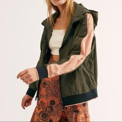 Free People Jackets & Coats   Free People Bomber Jacket With Hood Size Xs   Color: Green/Pink   Size: Xs