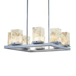 Justice Design Group Alabaster Rocks! - Laguna 8 Inch Tall 1 Light LED Outdoor Hanging Lantern - ALR-7519W-MBLK