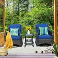 KOGRUE 3 Pieces Patio Pe Wicker Rattan Furniture Set,360° Swivel Rocking Cushioned Chair w/ Glass Coffee Table Wicker/Rattan in Blue   Wayfair