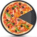 """MingshanAncient Pizza Pan w/ Holes,10 Inch Pizza Crisper Cooking Pan, Thickened Steel Pizza Tray For Oven in Black, Size 0.5"""" H x 12"""" W x 12"""" D"""
