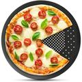 """MingshanAncient Pizza Pan w/ Holes,10 Inch Pizza Crisper Cooking Pan, Thickened Steel Pizza Tray For Oven in Black, Size 0.7"""" H x 10"""" W x 10"""" D"""