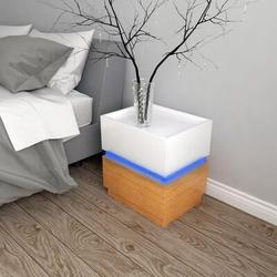 Ivy Bronx Modern LED Bedside End Table Nightstand 2 Drawers Modern High Gloss Nightstand Wood in Brown/White, Size 18.9 H x 17.72 W x 13.38 D in