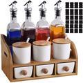 Prep & Savour Condiment Jars & Glass Oil Bottles Set w/ Wooden Holder, Vinegar Bottle Spice Container w/ 3 Drawers, Lids, Spoons | Wayfair