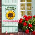 August Grove® Welcome Sign Rustic Front Door Decor Metal Sunflower Welcome Sign For Outdoor Decorative Garden Home Welcome Hanging Sign Decor Metal