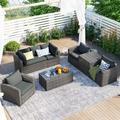 Red Barrel Studio® U_STYLE 7-Piece Outdoor Patio Sofa Set, Garden Patio Furniture Set, 7-Piece Patio Wicker Rattan Sofa Set, w/ Cushions, Chairs