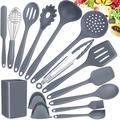 gelaosidun Kitchen Utensils Set,15 Silicone Cooking Utensils Set w/ Holder,Kitchen Gadgets Set Kitchen Tools Kitchen Accessories in Gray | Wayfair