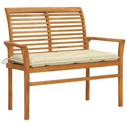 """vidaXL Garden Bench with Cream White Cushion 44.1"""" Solid Teak Wood"""