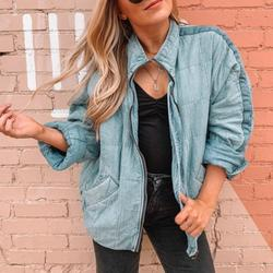 Free People Jackets & Coats | Free People Denim Dolman Quilted Knit Jacket Xs | Color: Blue | Size: Xs