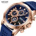 MEGIR – montre à Quartz pour hommes, bracelet en Silicone, chronographe, marque de luxe, ROSE, bleu,