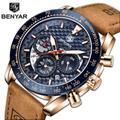 BENYAR – montre de luxe pour hommes, bracelet en cuir, étanche, Sport, Quartz, chronographe,