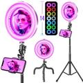 DELCY RGB Ring Lights, Selfie Ring Lights w/ Tripod/Phone Stand/HD Mirror, Dimmable LED Ring Lights w/ USB For Makeup, Youtube Videos, Photography