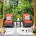 KOGRUE 3 Pieces Patio Pe Wicker Rattan Furniture Set,360° Swivel Rocking Cushioned Chair w/ Glass Coffee Table Wicker/Rattan in Orange   Wayfair