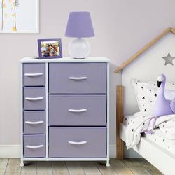 Sorbus Nightstand w/ 7 Drawers - Bedside Furniture & Night Stand End Table Dresser For Home, Bedroom Steel Frame, Wood Top (Pastel/White) in Indigo