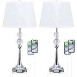 """Rosdorf Park USB Table Lamp Set Of 2, 26""""H Bedside Lamp w/ Lampshade, Bedroom Lamp Sets Crystal Ball Lamp Bedside Light w/ USB in White   Wayfair"""