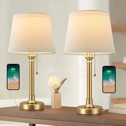 Rosdorf Park USB Table Lamp Set Of 2 For Bedroom Living Room Office Modern Bedside Desk Lamps Nightstand Lamp Metal Reading Lamp Brushed Steel Metal/Fabric
