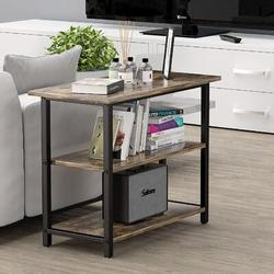 17 Stories Industrial Side Table End Table w/ 3-Tier Storage Shelves Narrow Console Table Hallway Side Table & Sideboard, Living Room, Kitchen