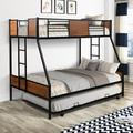 Mason & Marbles Twin Over Full Metal Bunk Bed w/ Trundle & Two-Side Ladders in Black, Size 54.3 W in | Wayfair 030BA185BC574FB58FE162AB4C5BF8AF