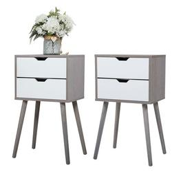 George Oliver Nightstands Set Of 2, Side Table Accent End Table W/2 Drawers, Night Stands For Bedroom, 28 Inch Tall Wood in Brown/Gray/Green Wayfair