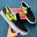 Vans Shoes | Nwt Vans Classic Slip On Slime Flame Sneakers | Color: Black/Green | Size: Various