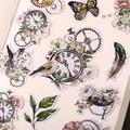 Étiquettes autocollantes oiseaux et horloges vintage, étiquette décorative, artisanat et