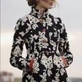 Anthropologie Jackets & Coats | Anthro Plenty By Tracy Reece Phlox & Coral Coat | Color: Black/Cream | Size: 6