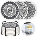 shanglixiansenxinmaoyi Coasters For Drinks Absorbent, Elegant Drink Coasters w/ Holder, Mandala Pattern Cup Coaster Set in White | Wayfair