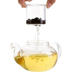 weilaicheng Glass Teapot Set, Tea Kettle Infuser w/ A Candle Warmer, 6 Double Wall Cups & A Removable Strainer, Stovetop Safe, Tea Pot w/ Blooming