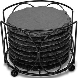 shanglixiansenxinmaoyi Coasters For Drink, GOH DODD Slate Rustic Round Stone Coasters 4 Inch Handmade Coasters w/ For Bar & Home, 8 Pieces in Black